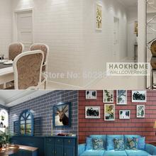 #6210-PVC Vinyl White Shabby Brick Stone 3D Wallpaper Living room,shop hotel bar Home Decor,0.53*10/roll(China (Mainland))