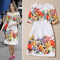 2014 Autumn ladies fashion runway women dress vintage floral print slim white dress European fashion Dresses free shipping
