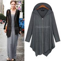 Plus Size Women Hooded Parkas 2014 New Autumn Winter Femininas Wide Waisted Long Coat Asymmetric Zipper Fit Flannel Women 070143