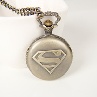 Best Gifts Biker Watch Chain New Classic Vintage Bronze Moive Superman Pocket Watch Necklace for Men Jewelry 2014,NC4288