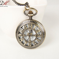New Arrival Fashion Rome's Historical Clock Men Jewelry  Special Flower Shape Brass Pocket Watch Quartz Necklaces,NC4285