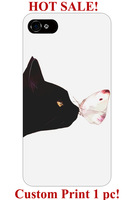 personalized black cat kissing butterfly pattern design art 5 5S 5C 6 4 4S cover protector for iphone 5 case butterfly design