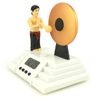 1 Piece Classic Creative Alarm Clock Bruce Lee Knock the Gong Clocks,Free Shipping
