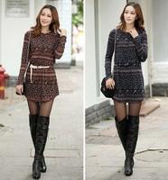 2014 autumn women national trend print plus size one-piece dress vintage loose Knitting long-sleeve dresses B0542