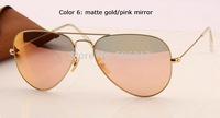 2015 top quality 100% UV women's men's fashion sunglasses rb aviator pink mirror sunglass original box case 3025 112/Z2 58mm