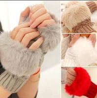 2014 Winter Wool Knitted Korean Style Faux Rabbit Fur Gloves  Half Finger Fingerless Computer Women Gloves