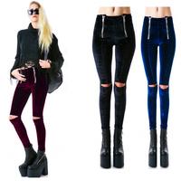2014 New European and American Fashion Women 's Leggings Double Zipper Hole Fashion Pants
