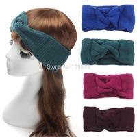 Turban Headband Women Solid Knitted Twist Knot Wool Yarn Headband Crochet Autumn Winter Ear Warm Head Wrap Hair accessories