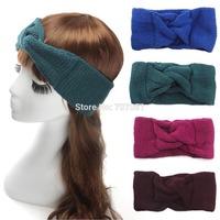 Women Crochet Turban Headband Handmade Solid Twist Wool Yarn Knitted Ear Warmer Head Wrap Hair accessories