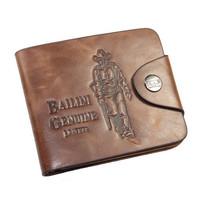 2015 vintage genuine leather wallet designer men wallets short male pu leather wallet purse casual carteira