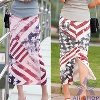 Hot Selling 2014 New Summer Split Stripe Print Skirt Long Strench American Flag Cotton Skirts Womens Casual Pencil Skirt 005001