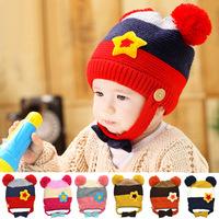 Autumn&Winter 1piece Kids Baby Bomber Hats,ear protector children cap,warm knitted Beanies,ball five star applique Boy/girl Hat