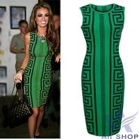 2014 Summer Women's Runway Black Green Print Dresses Women Work Wear Ladies Sleeveless Formal Pencil Bodycon Party Dress 06276