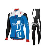 NEW 2014 Castelli Winter Thermal Fleece Cycling Jersey Long Sleeve men bicycle jersey Cycling Clothing bib pants Qyuck Dry S-4XL