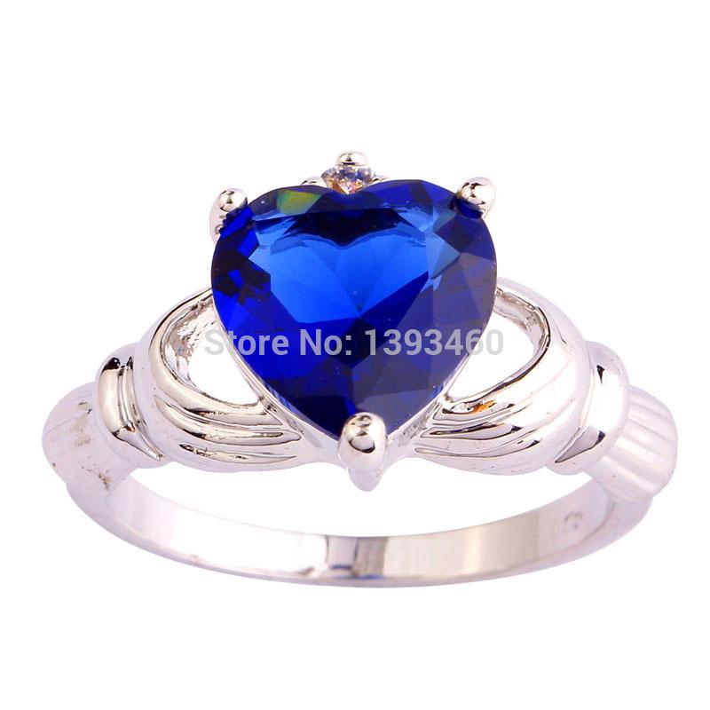 Love Heart Cut Claddagh Style Blue Sapphire Quartz 925 Silver Ring Size 7 8 9 10