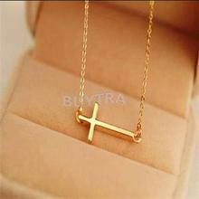 2015 New Lady Horizontal Sideways Cross Gold Sliver Plated Pendant Necklace Elegant Sweet Fashion Jewelry Women