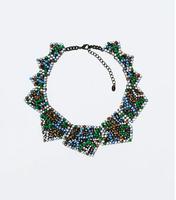 2014 new design fashion geometric shaped full multi color rhinestone women necklace