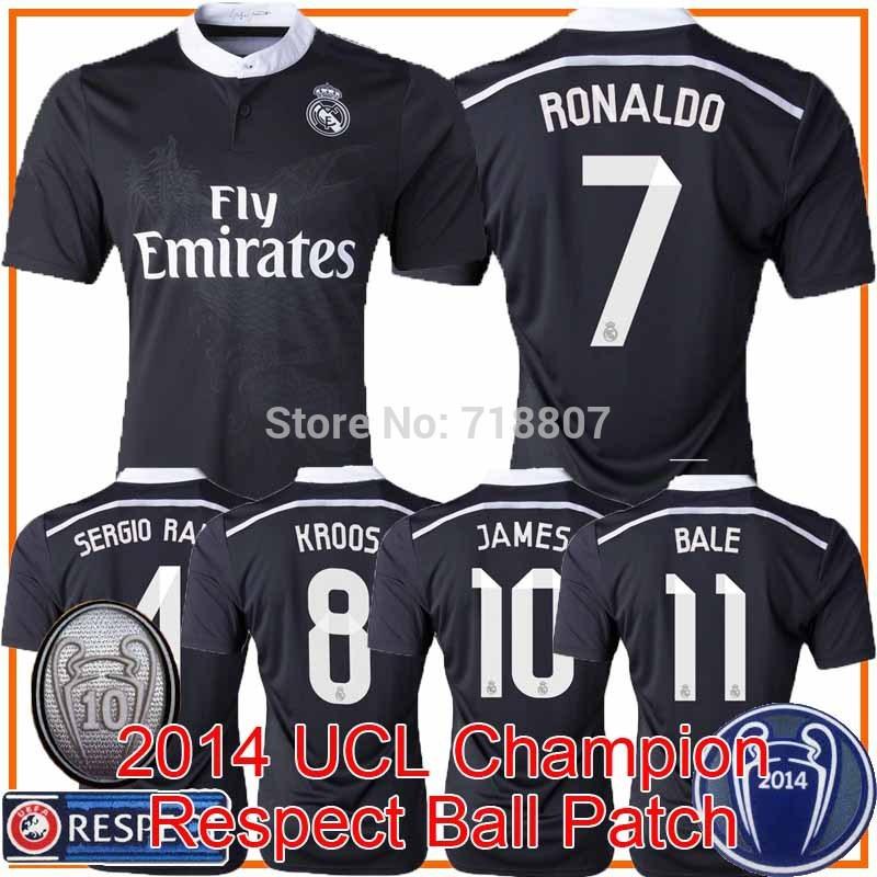 2014 UCL Champion Real Madrid 14/15 Soccer Jersey JAMES RONALDO CHI