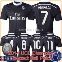 2014 UCL Champion Real Madrid 14/15 Soccer Jersey JAMES RONALDO CHICHARITO Real Madrid Jersey Black 3rd Dragon Shirt A+++ Thai