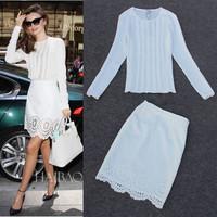 Free Shipping ! 2014 Autumn Fashion Runway White Top + Hollow Out Skirt Set Miranda Dress