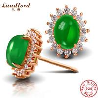 Brand New Fine Jewelry Green Chalcedony stud earrings for women Pure 925 sterling silver earring 18k rose gold earrings WE001