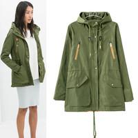 2014 Winter Women's parkas coat with cap slim jacket coats for women desigual ladies autumn casual detachable parka jackets