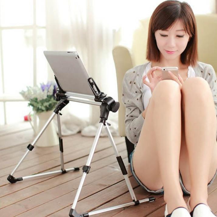 2014 New Arrive For iPad Tablet PC Samsung Phone Mount Bed Aluminum Alloy Hardness Mount Phone Care Rack Folding Tripod Holder(China (Mainland))