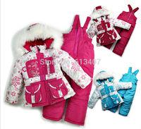 Russia Children's winter clothing set Baby girl Ski suit sport sets windproof flower warm coats fur Jackets+bib pants+wool vest