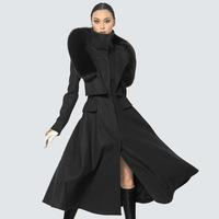Twods wool women's fur hoodies ladies coats winter warm long maxi luxury brand design winter overcoat  independent design