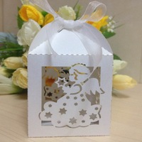 Free Shipping 50PCS Laser Cut angel Wedding Box in Pearlescent Paper box,party show candy box,party shower gifts,Chocolate Box