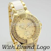 2014 New Fashion Women Watches Luxury Brand Wristwatches With LOGO Gold Color Quartz Watch Women Rhinestone Dress Watch