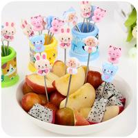 8PCS Korea cartoon stainless steel fruit fork set fashion creative lovely fruit salad fork sign