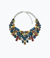 2014 fashion ZA WomenJewelry Vintage Plated Dark Color Geometrical Rhinestone Bib Statement Necklaces Pendants  KK-SC661