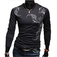 Hot New Stylish Mens Casual Slim Fit Tattoo Printed Long Sleeve T-Shirt Basic Tee Tops 531345
