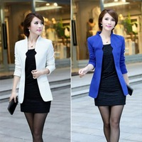Spring New 2014 Women Solid Color Casual Coat and Jackets Women Slim Long Blazer High Quality T16-18