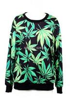Women's Turtleneck Sweatshirts Harajuku Hoodies Clothing Women Leaf Printed Pullovers Free Shipping