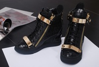 DEIVE TEGER)F 2014 brand new shoes leather zipper high top boots women leisure chain snake print sneakers DT176