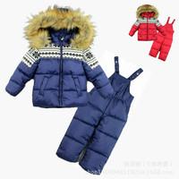 2014 New Arrival Children's Winter Clothing Set Kids Ski Suit Windproof print Warm Coats Fur Jackets+Bib Pants kids sports suit