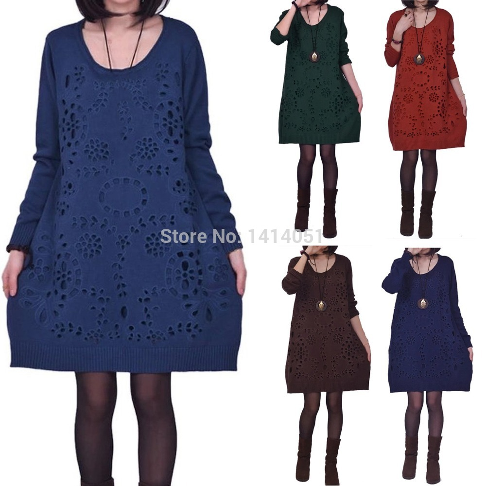 Long Wool Jumper Dress...