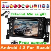 2 Din Android 4.2 Car DVD GPS Navigation Automotivo For Suzuki Grand Vitara 2005-2011+Radio+Audio+Stereo+3G+Wifi+BT Car Styling