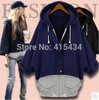 Free Shipping 2014 Fashion Plaid European Style Bat Sleeve Hooded Fleece Cardigan Jacket Big Size Mixed Colors Sweater Coat