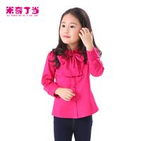 Hot!!!Girls White/Red Cotton Shirt Bowknot fashion chidren girl autumn long sleeve blouse#1411362 baby shirt Girl Top