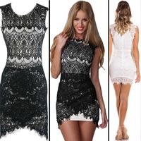 High quality Fashion women Lace Bodycon dress 2014 summer Sleeveless O-neck White Black Sexy Party Pencil Dress vestidos 4332