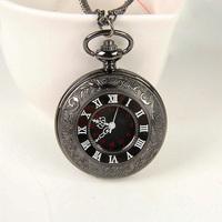 Wholesale 2014 Hot Selling New  Fashion Designer Roman Numerals Black Pocket Watch Quartz Necklace for Men,NC4293