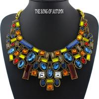 2014 New ZA Brand Acrylic Necklaces & Pendants Antique Collar Statement necklace Women Jewelry