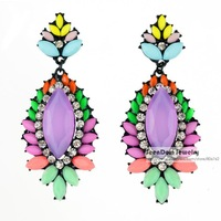 Vintage Bohemia Style Rhinestone Brincos Multicolor Resin Simulated Gemstone Statement Earring Women Dress Jewelry SCE113