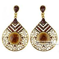 Vintage Bohemia Style Rhinestone Brincos Resin Simulated Gemstone Statement Earring Women Dress Jewelry SCE114
