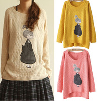 Sweaters Autumn New Women Fashion Cute Cartoon Girl Applique Knitwear Pullover O-Neck Long-Sleeved Sweaters Coat Tricot Tops