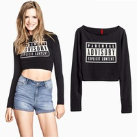 2014 Ladie's Sexy Cropped Tops Black Long Sleeve Summer Casual Women Short T-shirt Tops With PARENTAL ADVISORY Print