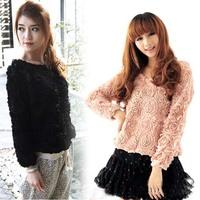 2014 Autumn and winter Korea Girls 3D Mesh Lace Rose Floral Long Sleeve T Shirt Women Jumper Top Sweater